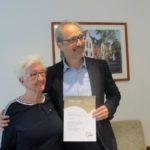 Mitgliederversammlung am 2. Mai 2019 und Ehrung von Frau Maria Warczinski – 40 Jahre AWO Mitgliedschaft auf dem Bild mit Herrn Andre Saborowski, stellvertretender Vorsitzender des Bezirksvorstandes